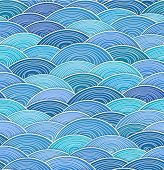 Seamless background of curled abstract blue waves