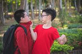 Young Asian Boy Bullying A Boy In Park poster