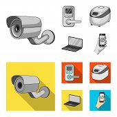 Home Appliances And Equipment Monochrome, Flat Icons In Set Collection For Design.modern Household A poster