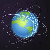 Earth with trajectories of satellites in deep space