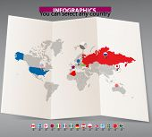 World map on old map and flags of different countries. You can select any country by color