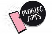 Word Writing Text Mobile Apps. Business Concept For Small Programs Are Made To Work On Phones Like M poster