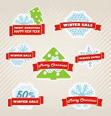 Winter vector labels set
