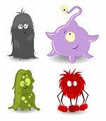 Vier kleine Monster. Vektor-illustration