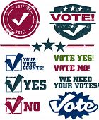 Vintage Style Distressed Voting Symbols