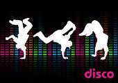 Dançarinos de break em um fundo preto