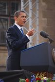 PRAGUE - APRIL 4: US President Barack Obama delivers a speech about a nuclear-free near Prague Castl