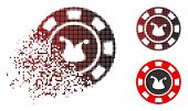 Joker Casino Chip Icon In Dispersed, Pixelated Halftone And Undamaged Entire Variants. Particles Are poster