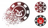 Joker Casino Chip Icon In Fractured, Dotted Halftone And Undamaged Entire Variants. Cells Are Combin poster