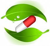 Symbol of herbal pills; alternative medicine