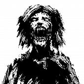 Creepy Zombie Woman Head. Black And White Colors. Vector Illustration. poster