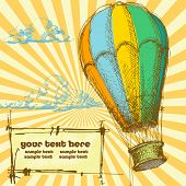 Retro background with hot air balloon for different events