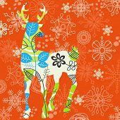 Decorative Christmas deer; snowflakes background