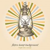 Fundo de lâmpada retrô; conceito de criatividade