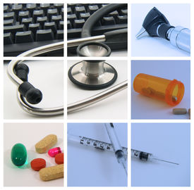 stock photo of health-care  - Collage of medical and health care devices used by medical professionals - JPG