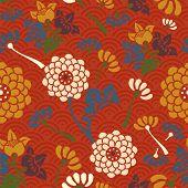 Oriental Flowers Seamless Pattern