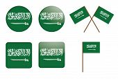 Badges With Flag Of Saudi Arabia