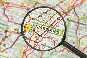 Destination - Strasbourg (with Magnifying Glass) poster