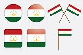 Badges With Flag Of Tajikistan