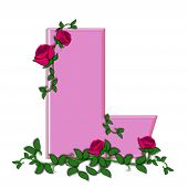 picture of climbing roses  - The letter L in the alphabet set Blushing Roses is soft pink - JPG