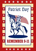 pic of civil war flags  - Poster greeting card illustration of a patriot union cavalry american civil war soldier blowing bugle riding horse holding an American stars and stripes flag and words patriot day remember 911 - JPG