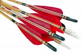 picture of fletching  - Homemade cedar wood archery arrows isolated on white - JPG
