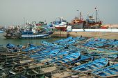Blue Boats In Essaouira Port