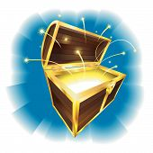 pic of treasure chest  - Illustration of treasure chest with sparks flying - JPG