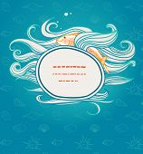 Shipping menu with waves and fish in the background seamless pattern with shells
