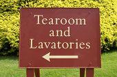 Sign. Tearoom And Lavatories.