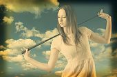 Beautiful Woman With Golfclub Images Manipulated