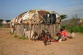 Samburu Children and House in Kenya, Africa