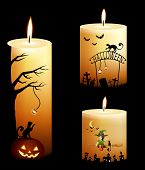 collection of halloween theme candles for kids