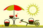 stock photo of hand-barrow  - vector table with umbrella and hand barrow with basket of cherries - JPG