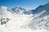 Landscape of Jungfrau Mountain Range in Switzerland