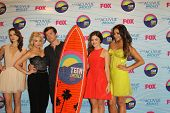 LOS ANGELES - JUL 22: Troian Bellisario, Ashley Benson, Ian Harding, Lucy Hale, Shay Mitchell in the Press Room of the 2012 Teen Choice Awards at Gibson Ampitheatre on July 22, 2012 in Los Angeles, CA