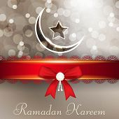 Ramadan Kareem or Ramazan Kareem background with red ribbon, moon and star. EPS 10.