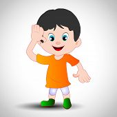 Saluting a cartoon boy in Indian Flag dress. EPS 10.