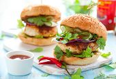 Thai chicken burger with cucumber and sweet chili sauce