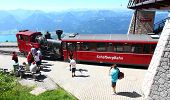 ST. WOLFGANG, AUSTRIA - JULY 8: Unidentified people enjoy vintage cogwheel railway at Schafberg Peak