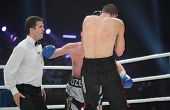 ODESSA, UKRAINE - JULY 21: Vyacheslav Uzelkov (in blue gloves) vs Mohamed Belkacem in fight for WBO
