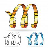 Vector illustration of film reels forming letter M to symbolize movies