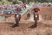 SEMIGORJE, RUSSIA - JULY 22: Unidentified riders at Grand Prix of Russia of FIM Motocross World Cham