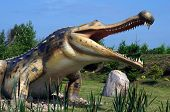 Sarkosuchus, classification - krokodilomorfy, length - 15m, weight - 8 ton. Model of dinosaur in Jurassic park in Leba, Poland.