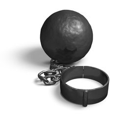 stock photo of slave-house  - Steel house on a chain and shackle - JPG