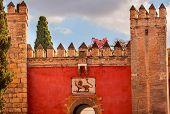 Red Front Gate Alcazar Royal Palace Seville Spain