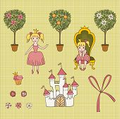 set of cute princess elements