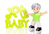 Illustration of a young baby icon  with cute 3d character