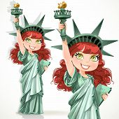Brown curly hair girl dressed as the Statue of Liberty with torch