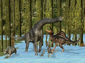 stock photo of herbivorous  - Jurassic dinosaurs in mossy swamp - JPG